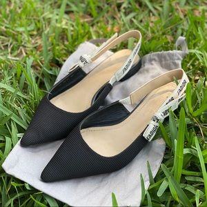 Dior J'ADIOR BALLERINA IN BLACK CANVAS size 40